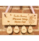 Easter Bunny Stop Here with Egg Names- Hanging Plaque