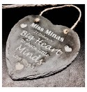 Personalised Slate Hanging Heart1 - Teacher Gift.
