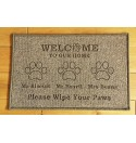 Doggy Theme - 'Welcome to our Home' design door mat - Machine Washable
